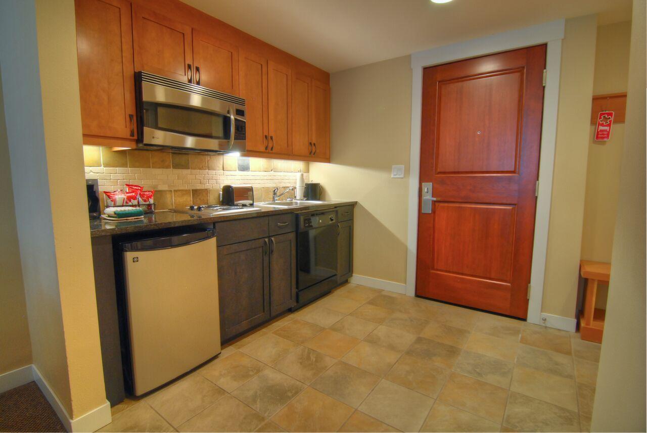 one bedroom kitchenette kitchen gold