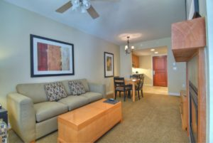 one bedroom kitchenette living area gold