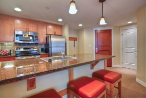 two bedroom gold kitchen